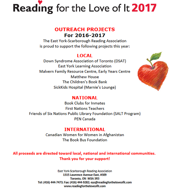 Reading For The Love of It - Outreach 2015 - 2016
